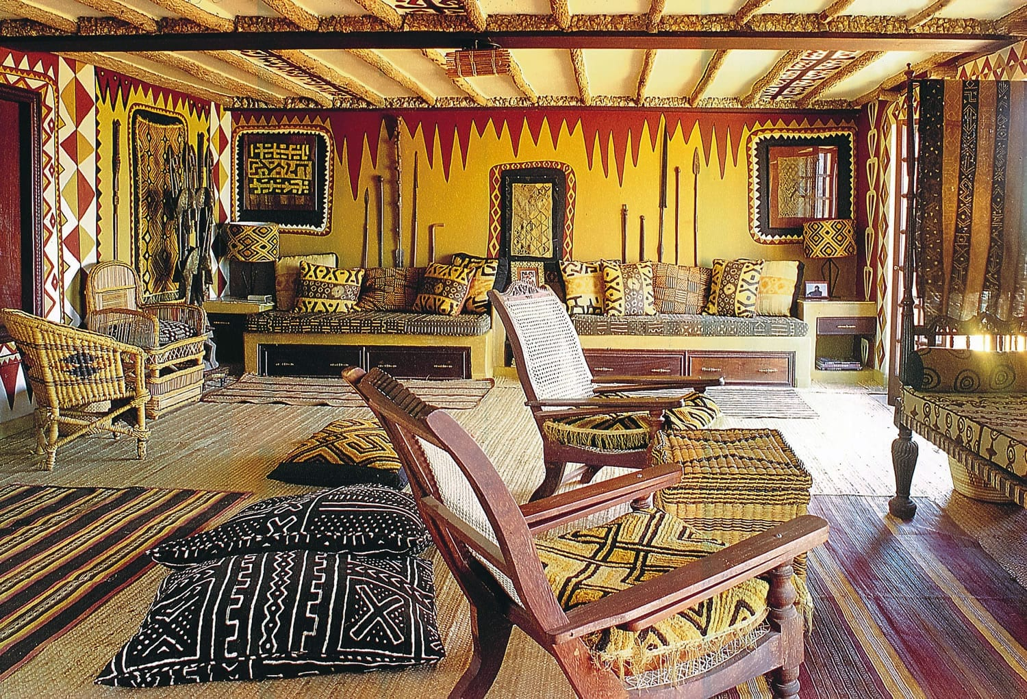 African Heritage House roof room with hand-painted walls by Carol Beckwith and African Heritage artists.