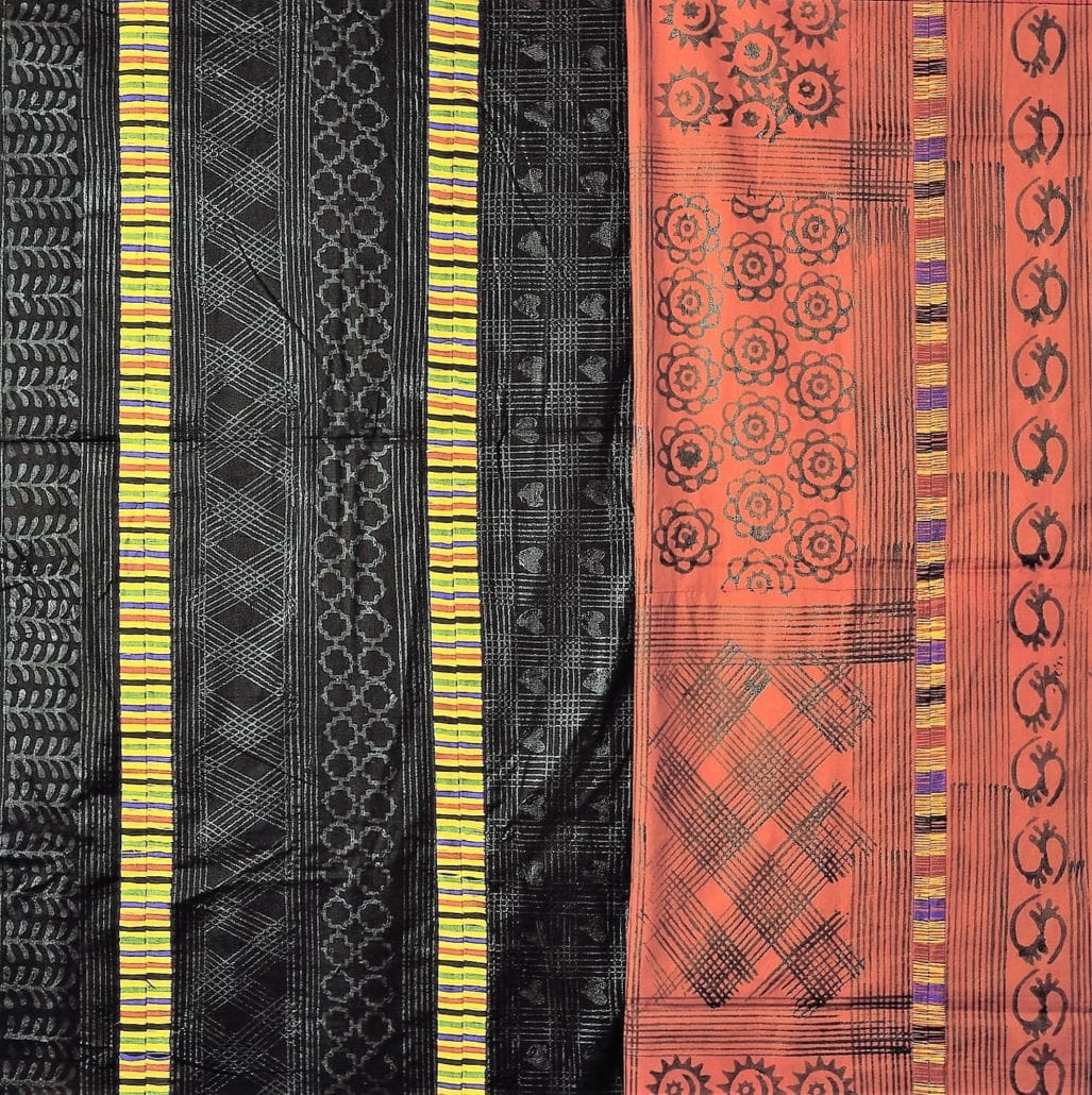 Adinkra cloth printed with Calabash stamps from Ashanti in Ghana