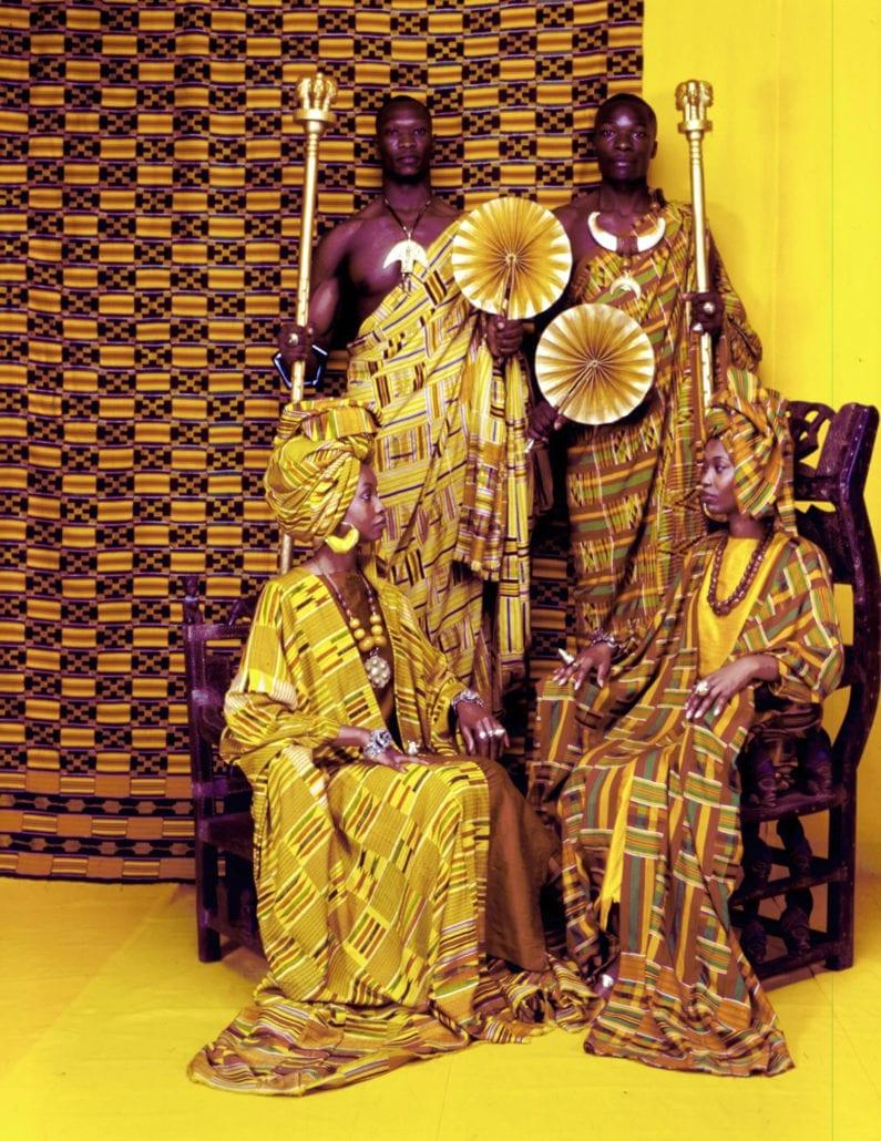 African Heritage models in Ashanti Kente cloths.