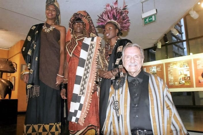 Alan Donovan with models at African Heritage 40th anniversary celebrations