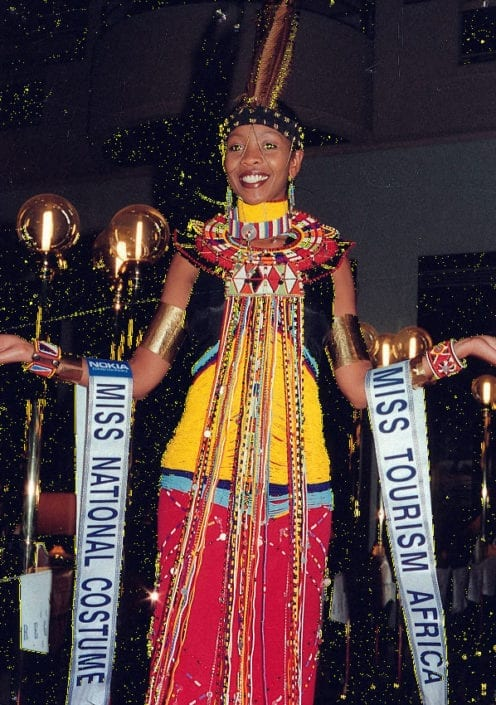 Debra Sanapei wearing the world's winning costume for Miss Tourism designed by African Heritage