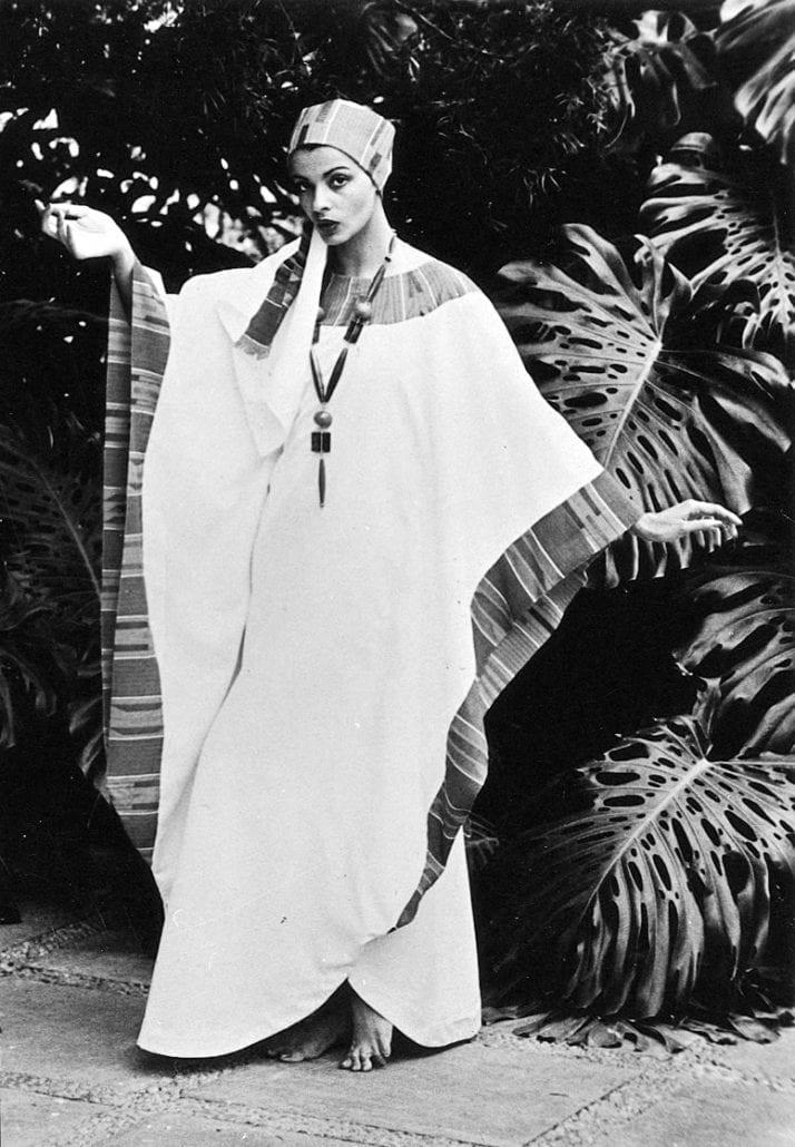 Former Miss World Persis Khambatta in African Heritage design