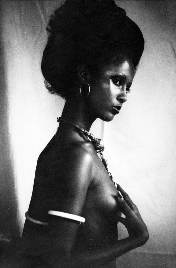 Iman in African Heritage jewellery. Photo by Peter Beard -1975