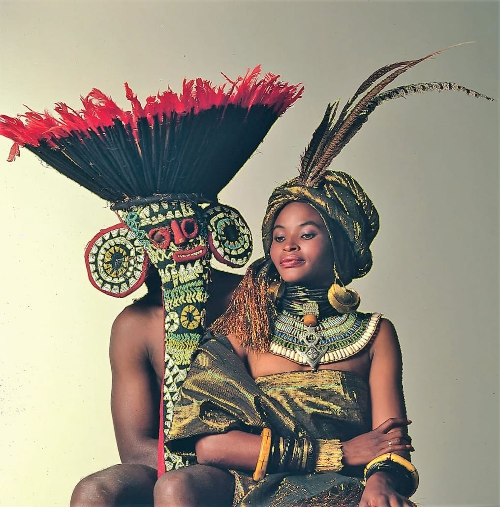 Kenya's African Heritage Festival logo with model and warrior