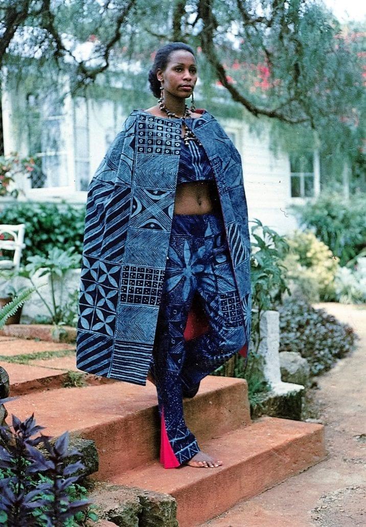 Late Irene Mugambi African Heritage first model in Nigerian Adire cloth