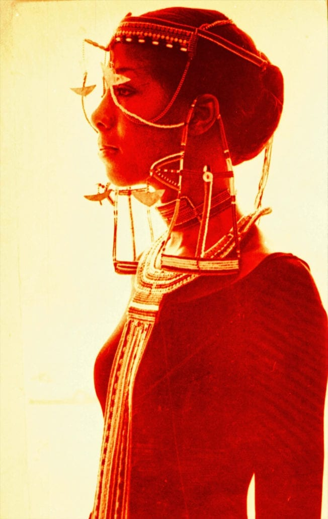 Model in Maasai finery at Hollywood Show -1971