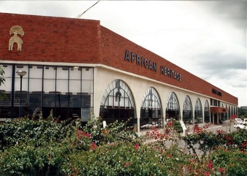 AFRICAN HERITAGE LIBRA HOUSE ON MOMBASA ROAD was the last major gallery opened by African Heritage, with two mammoth galleries, One-Off Art Gallery, two restaurants, an entertainment centre called the Makuti Pavillion, and six double story warehouses where over 500 craftsmen and staff were employed and several thousand others brought items on consignment or by order.