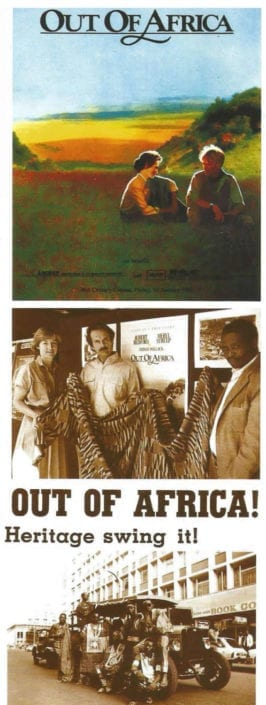 African Heritage provided local casting, sets, and services for the OUT OF AFRICA movie in Kenya, including decorating the theatre for the World Premiere with band and models from African Heritage.