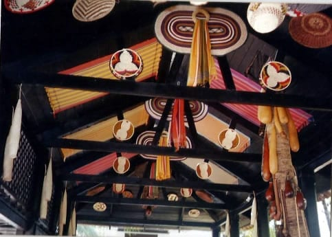 """A view of the roof decorations in the """"SOKONI GRILL"""" at Serena Beach Hotel decorated by Alan Donovan and Tom Otieno of African Heritage."""