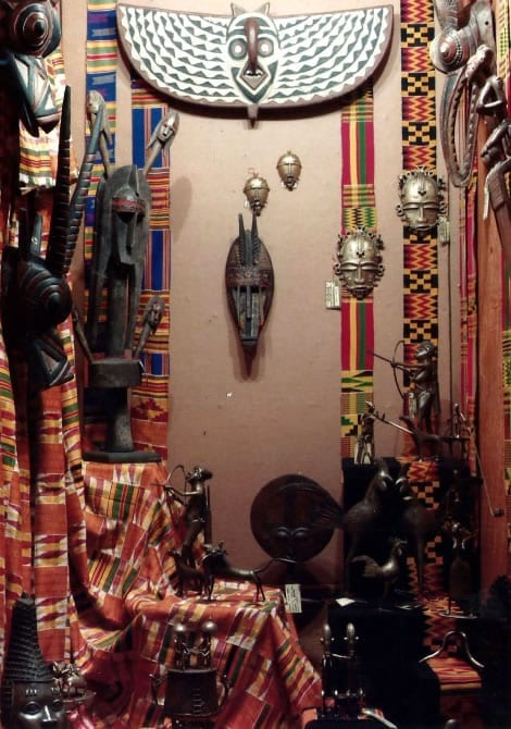 A display window in the original African Heritage Gallery with West African sculptures in wood and bronze, exclusive to African Heritage on Kenyatta Avenue.