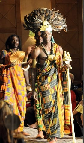 Fernando Anuanga' modelling the spectacular Royal Costumes of African Heritage.