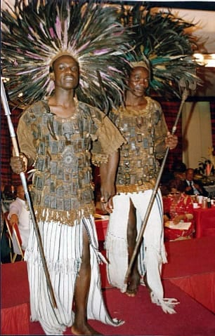 Warriors in fetish costumes from Mali