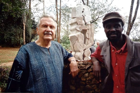 "ALAN DONOVAN with the late EXPEDITO MWEBE and his brilliant statue in homage to the late Joseph and Sheila Murumbi, entitled ""The Universal Couple"" at the Murumbi Peace Memorial."