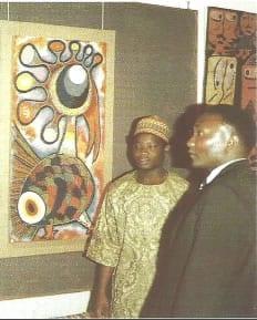 Nigerian bead artist Jimoh Buraimoh with Kenyan artist Louis Mwaniki.